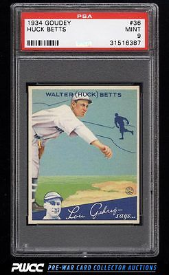 1934 Goudey SETBREAK Huck Betts 36 PSA 9 MINT PWCC