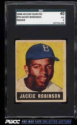 1948 Leaf Jackie Robinson ROOKIE RC 79 SGC 340 VG PWCC