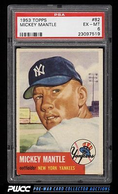 1953 Topps Mickey Mantle SHORT PRINT 82 PSA 6 EXMT PWCC