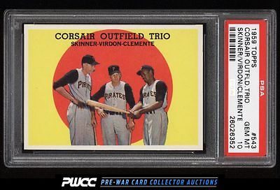 1959 Topps Roberto Clemente CORSAIR OUTFIELD TRIO 543 PSA 10 GEM MINT PWCC