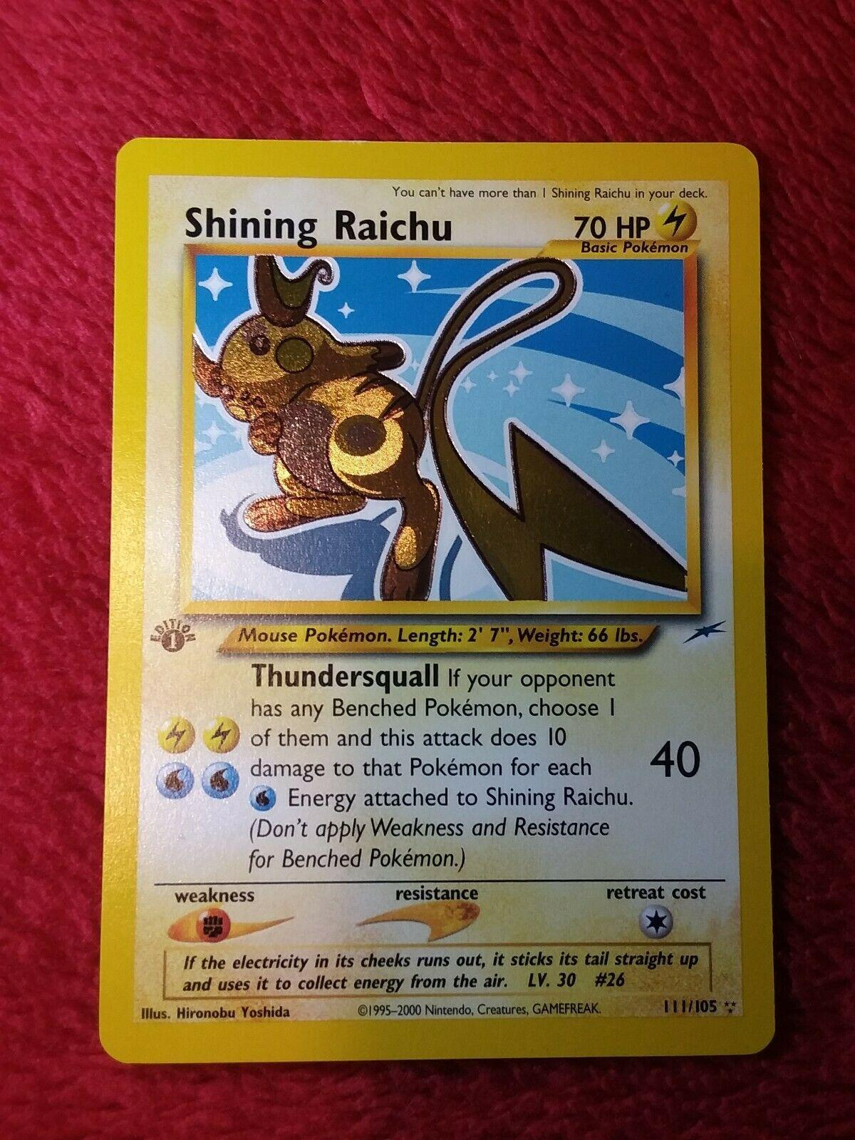Super rare 1st edition holographic shining raichu pokemon card Great condition