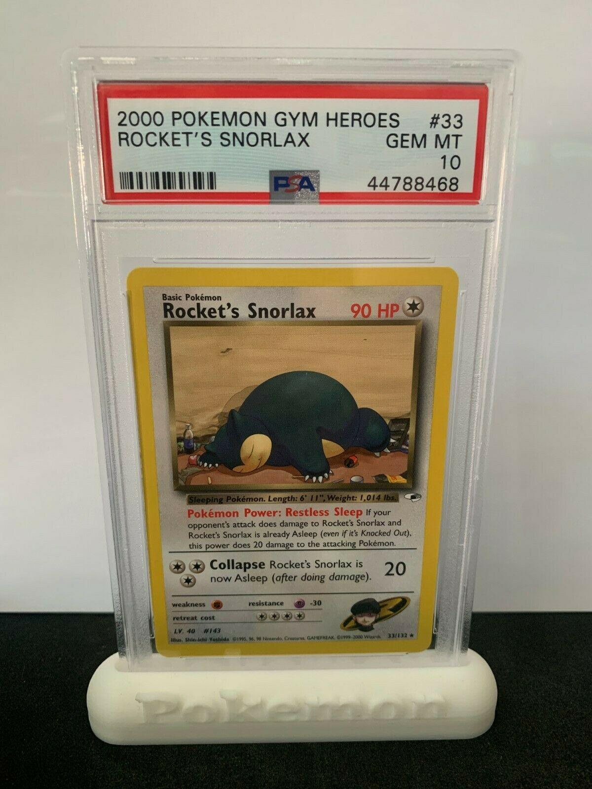 Pokemon PSA 10 Gym Heroes Rockets Snorlax non Holo Rare Mint 33