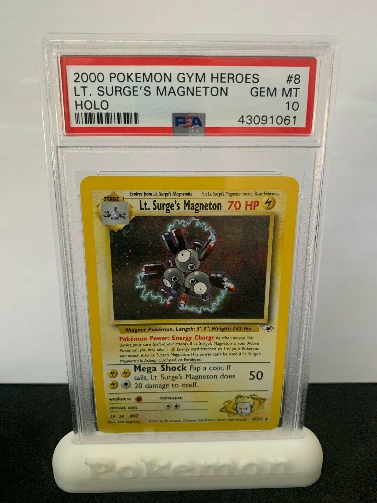 Pokemon PSA 10 Gym Heroes Lt Surges Magneton Holo Rare Mint 8