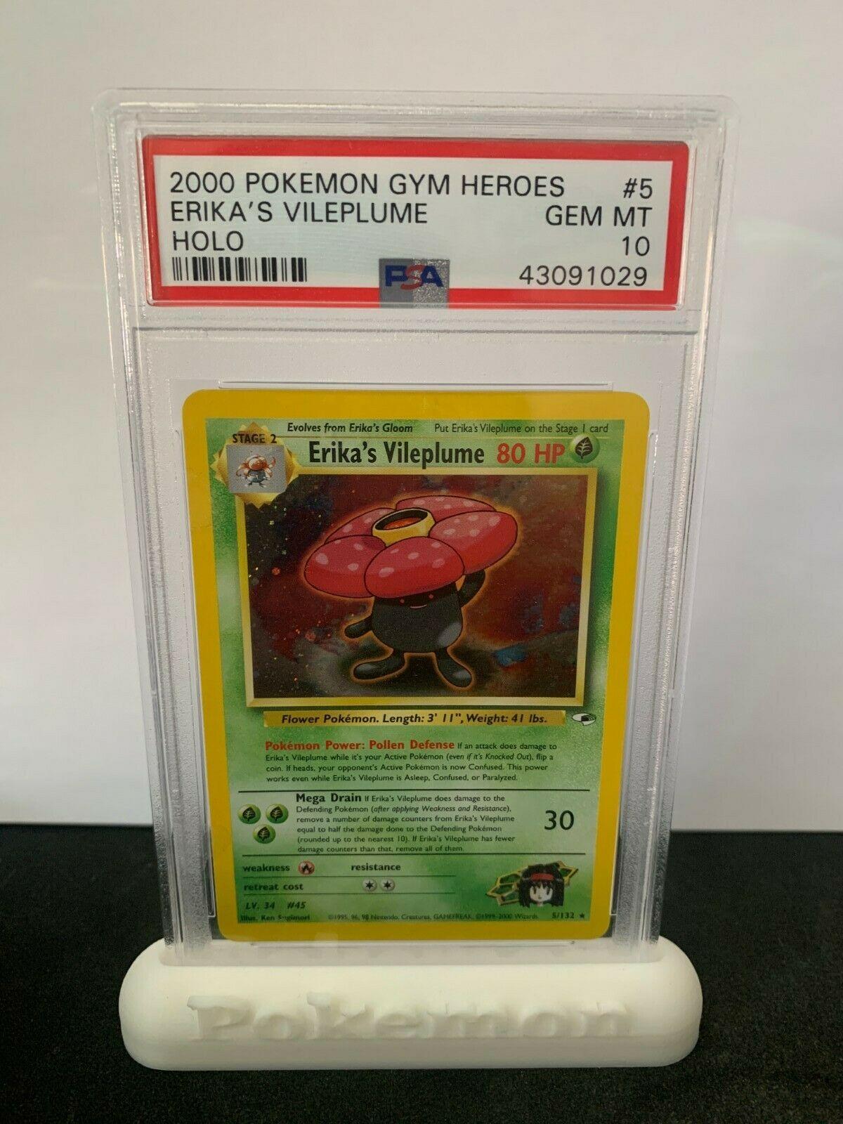 Pokemon PSA 10 Gym Heroes Erkias Vileplume Holo Rare Mint 5
