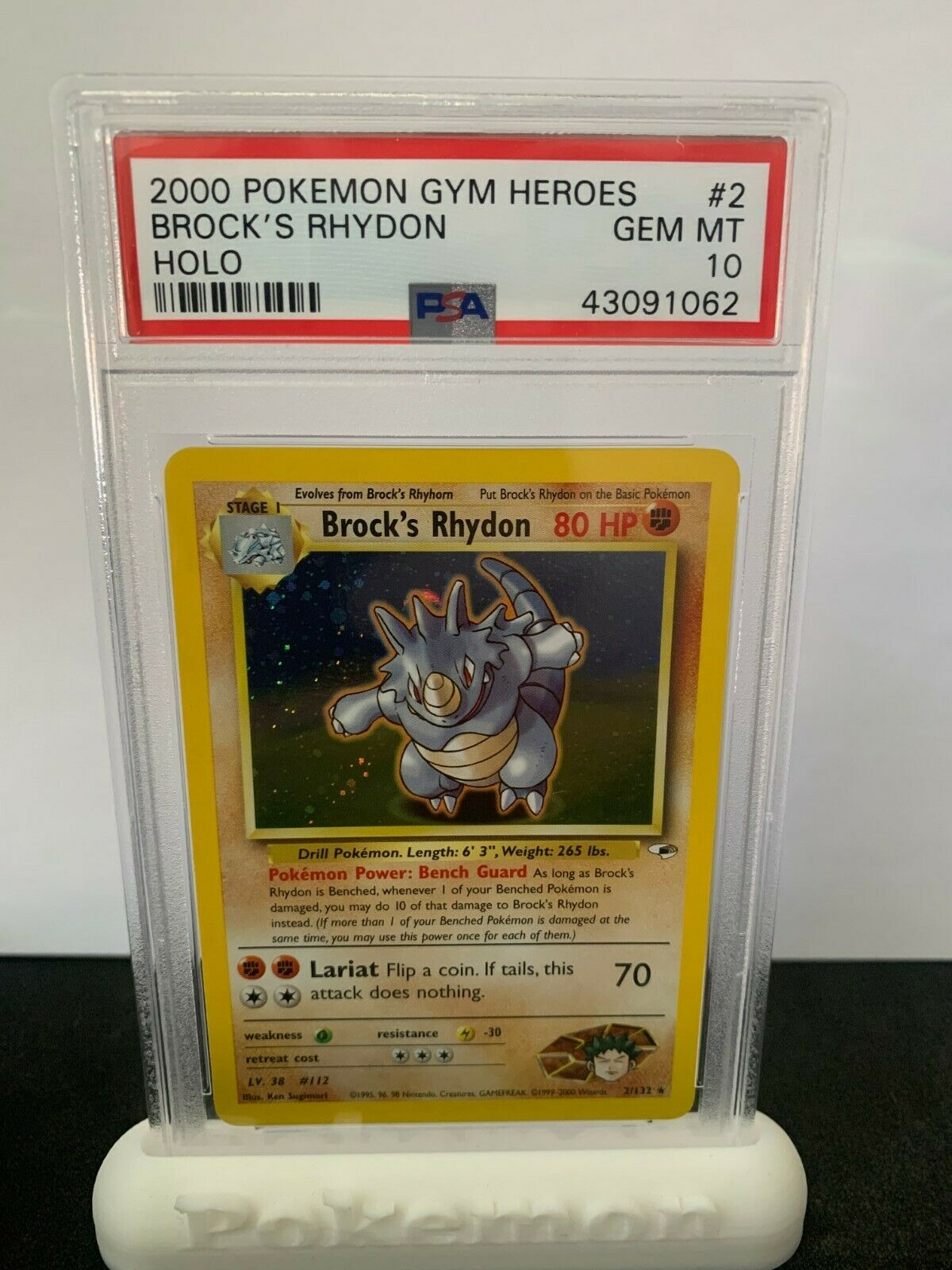 Pokemon PSA 10 Gym Heroes Brocks Rhydon Holo Rare Mint 2