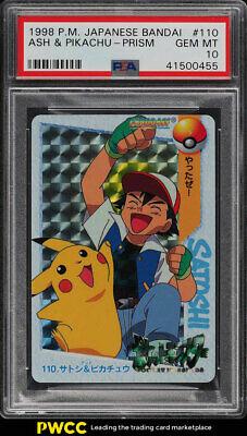 1998 Pokemon Japanese Bandai Prism Ash  Pikachu 110 PSA 10 GEM MINT