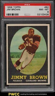 1958 Topps Football Jim Brown ROOKIE RC 62 PSA 8 NMMT