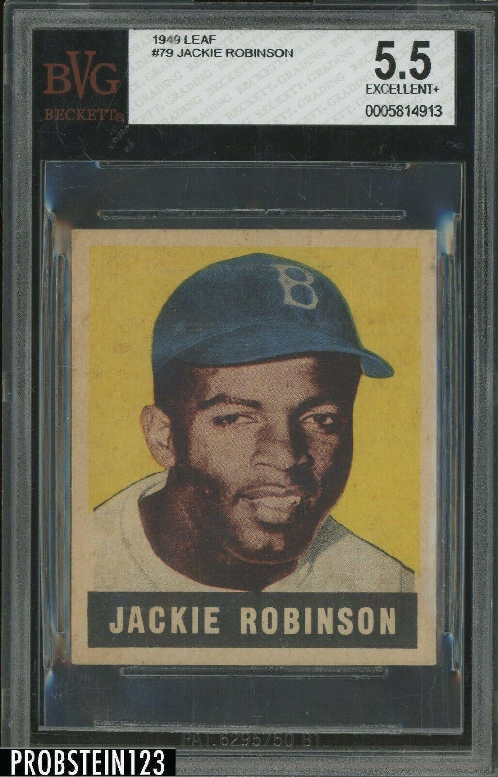 1948 Leaf 79 Jackie Robinson Brooklyn Dodgers RC Rookie HOF BVG 55 EX