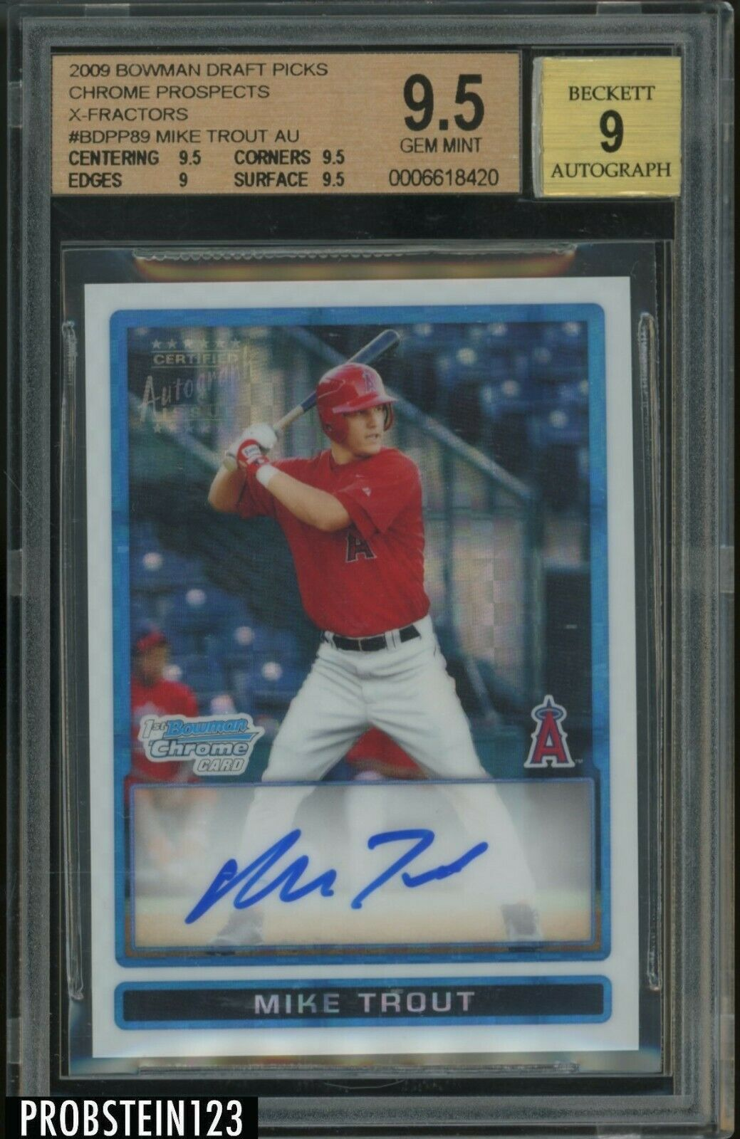2009 Bowman Chrome XFractor Mike Trout RC Rookie AUTO 225 Angels BGS 95