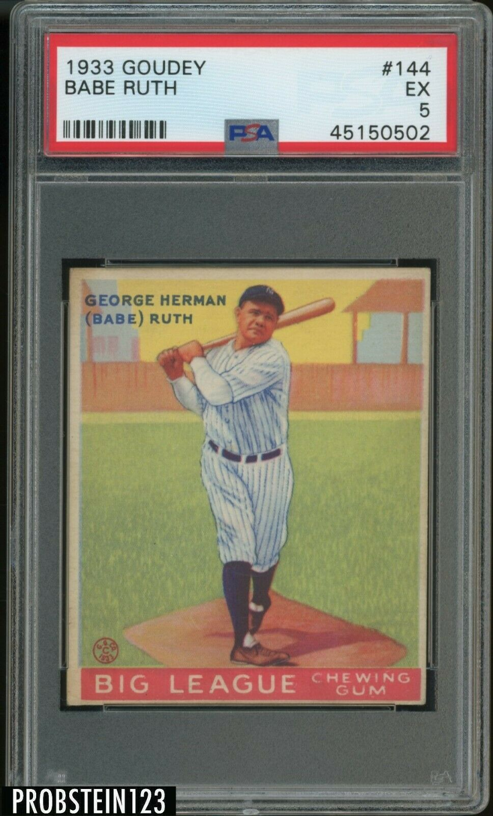 1933 Goudey 144 Babe Ruth New York Yankees HOF PSA 5 EX  LOOKS NICER