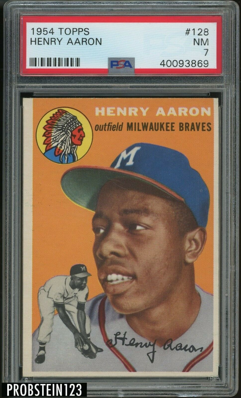 1954 Topps 128 Henry Hank Aaron RC Rookie HOF PSA 7 NM  LOOKS NICER