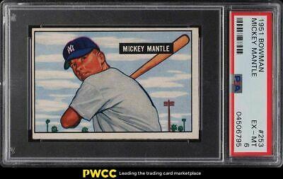 1951 Bowman Mickey Mantle ROOKIE RC 253 PSA 6 EXMT