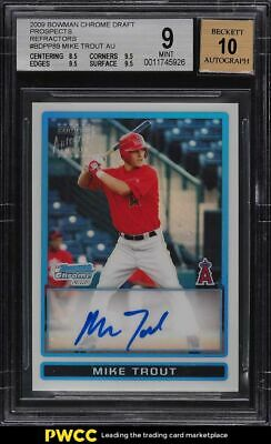 2009 Bowman Chrome Refractor Mike Trout ROOKIE RC AUTO 500 BDPP89 BGS 9 MINT