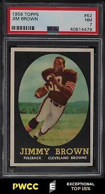 1958 Topps Football Jim Brown ROOKIE RC 62 PSA 7 NRMT PWCCE
